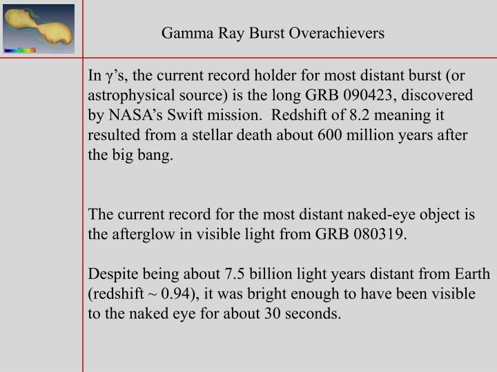 Gamma Ray Burst Overachievers