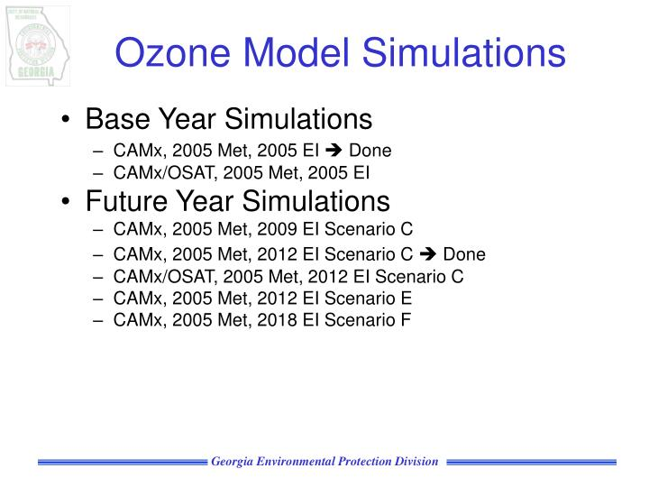 Ozone Model Simulations