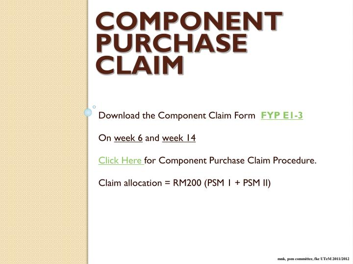 COMPONENT PURCHASE CLAIM