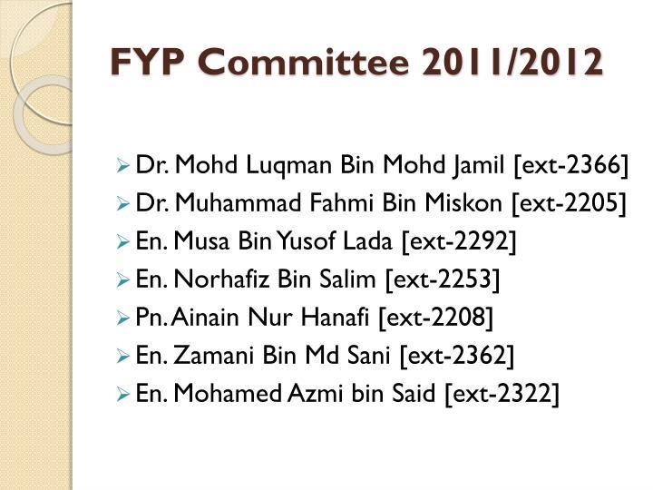 FYP Committee 2011/2012