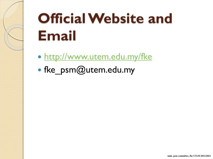 Official Website and Email