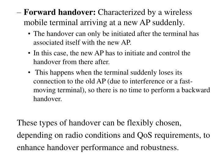 Forward handover: