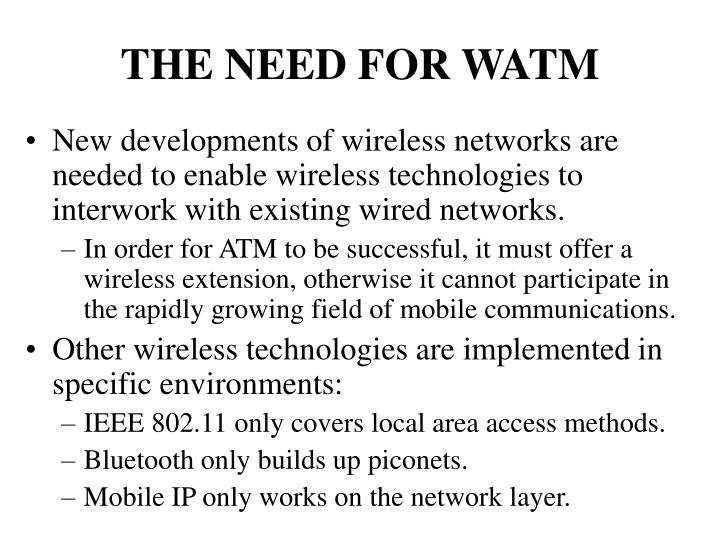 THE NEED FOR WATM