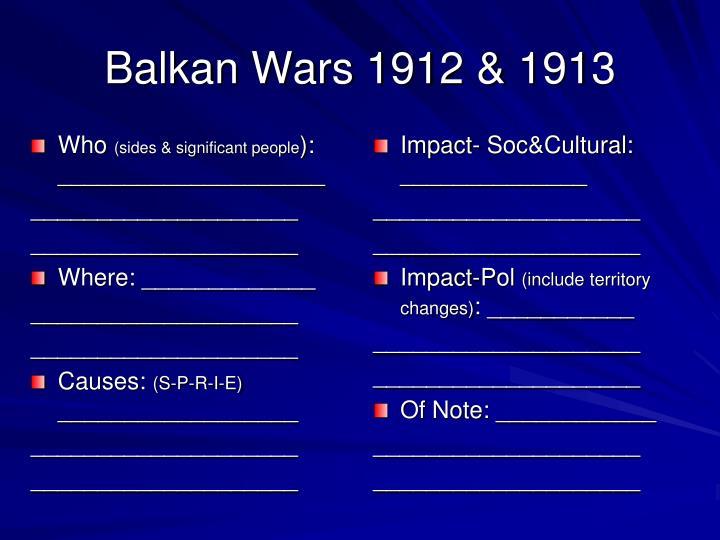 Balkan Wars 1912 & 1913