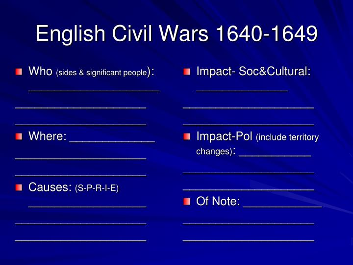 English Civil Wars 1640-1649