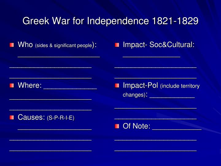Greek War for Independence 1821-1829