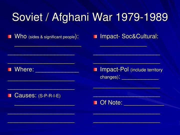 Soviet / Afghani War 1979-1989
