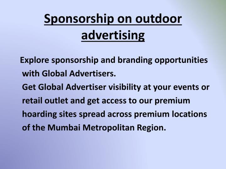 Sponsorship on outdoor advertising