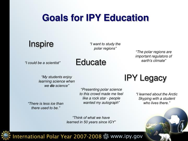 Goals for ipy education