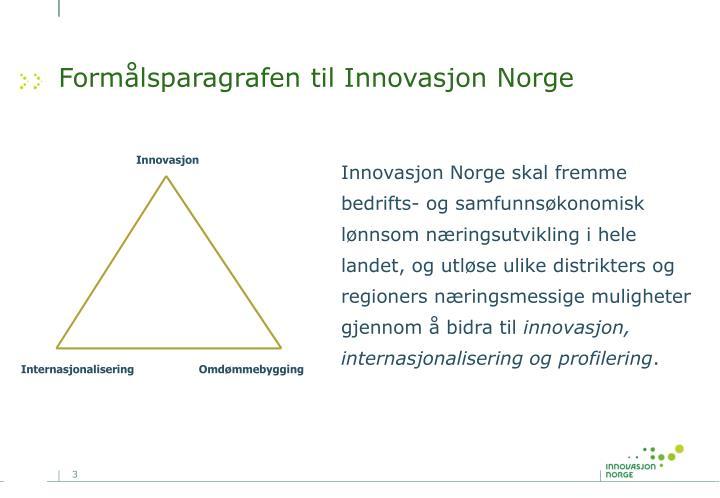 Formålsparagrafen til Innovasjon Norge
