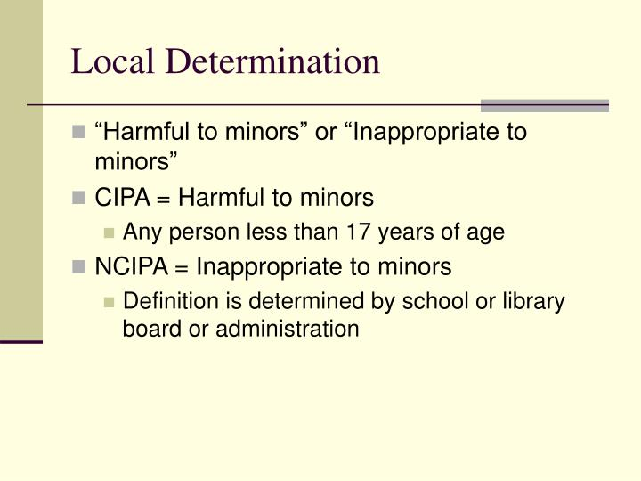 Local Determination