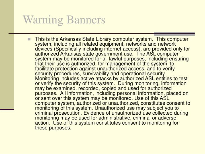 Warning Banners