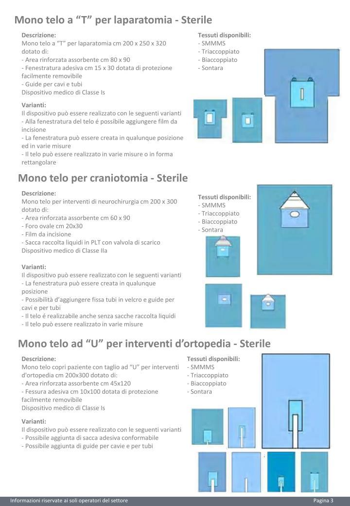 "Mono telo a ""T"" per laparatomia - Sterile"
