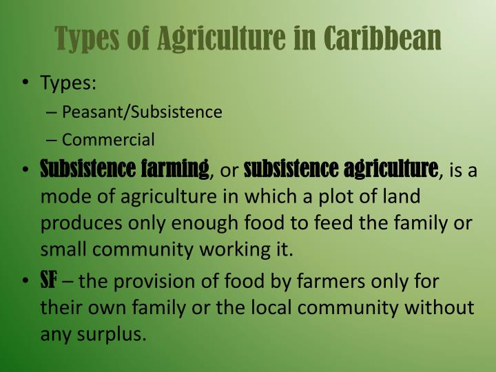 Types of Agriculture in Caribbean