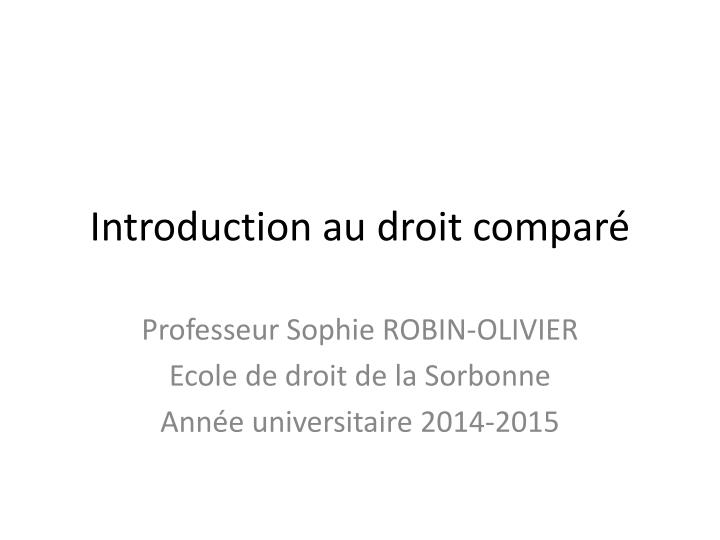 Introduction au droit compar
