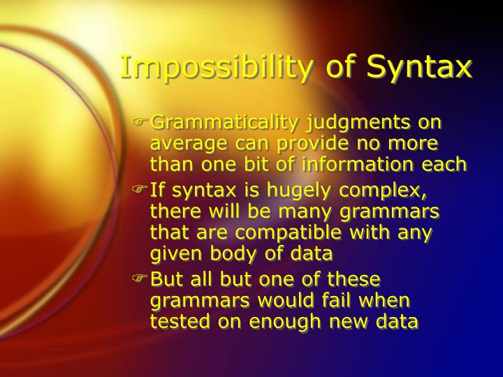 Impossibility of Syntax