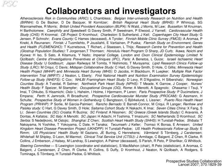 Collaborators and investigators