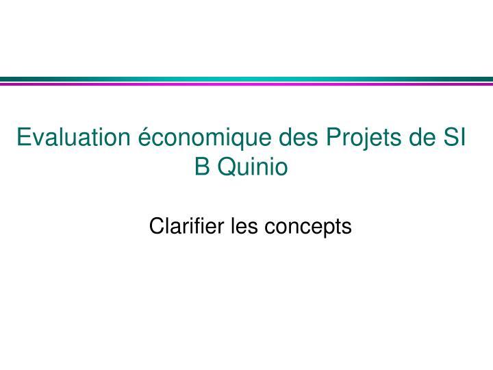 Evaluation économique des Projets de SI