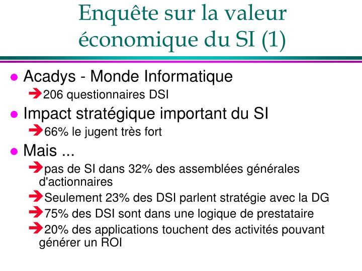Enquête sur la valeur économique du SI (1)
