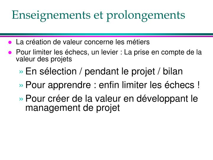 Enseignements et prolongements