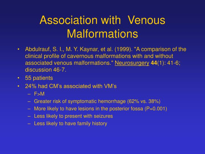 Association with  Venous Malformations