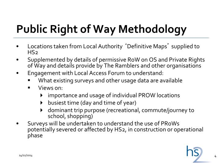 Public Right of Way Methodology
