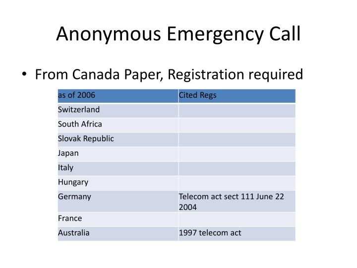 Anonymous Emergency Call