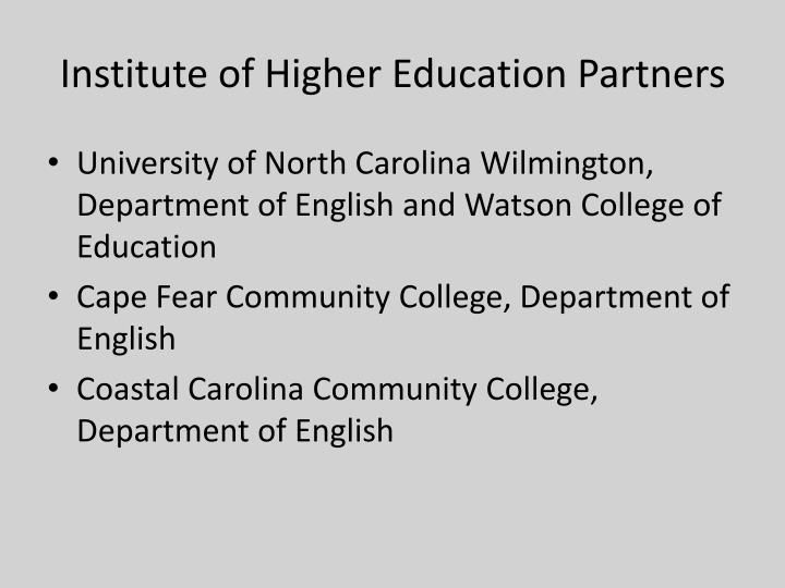 Institute of higher education partners