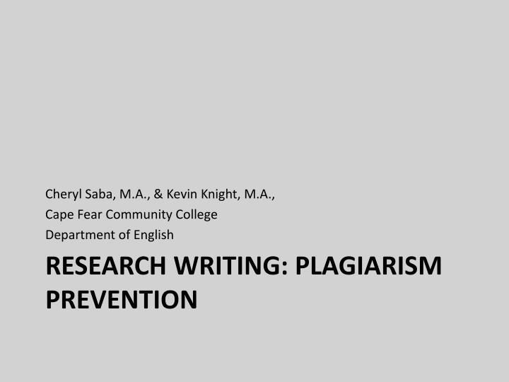 Cheryl Saba, M.A., & Kevin Knight, M.A.,