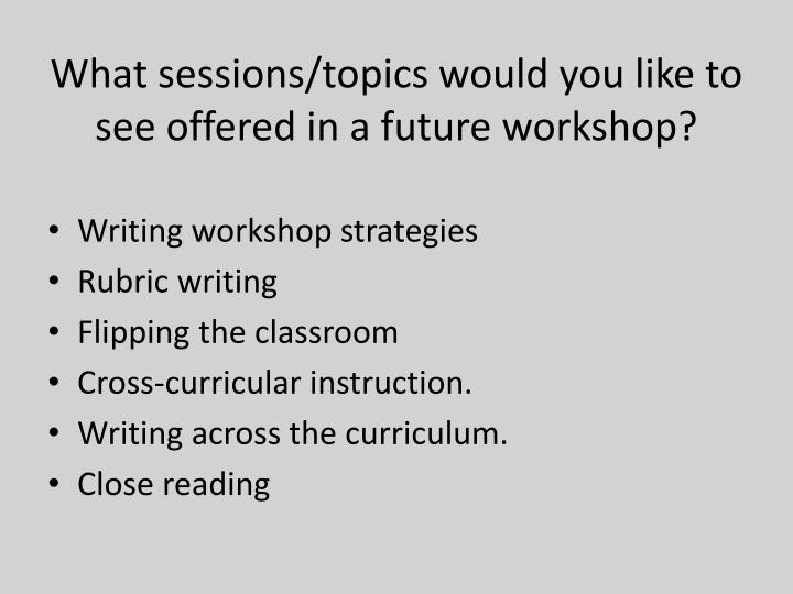 What sessions/topics