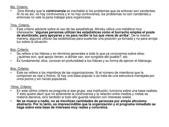 6to. Criterio.