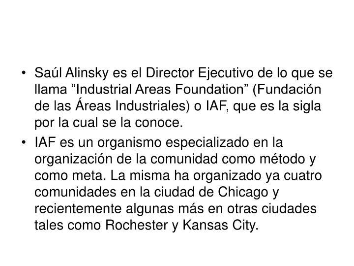 """Saúl Alinsky es el Director Ejecutivo de lo que se llama """"Industrial Areas Foundation"""" (Fundación de las Áreas Industriales) o IAF, que es la sigla por la cual se la conoce."""