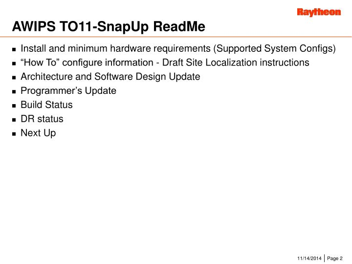 Awips to11 snapup readme