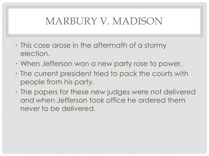 an analysis of the case of marbury versus madison in the supreme court of united states Madison, 5 us (1 cranch) 137 (1803), was a us supreme court case that established the principle of judicial review in the united states, meaning that american courts have the power to strike down laws, statutes, and some government actions that contravene the us constitution.