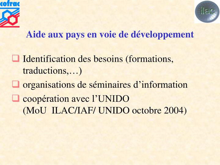 Aide aux pays en voie de développement