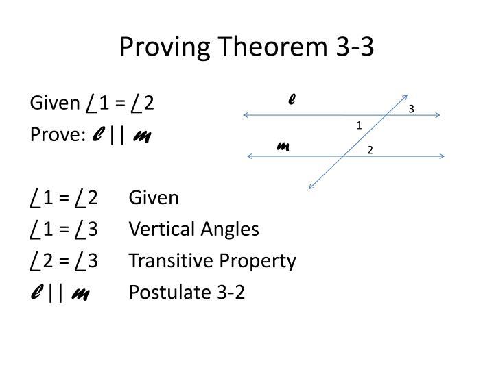 Proving Theorem 3-3