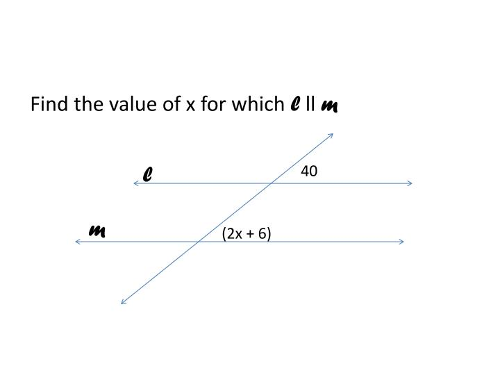 Find the value of x for which