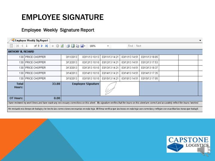 Employee signature