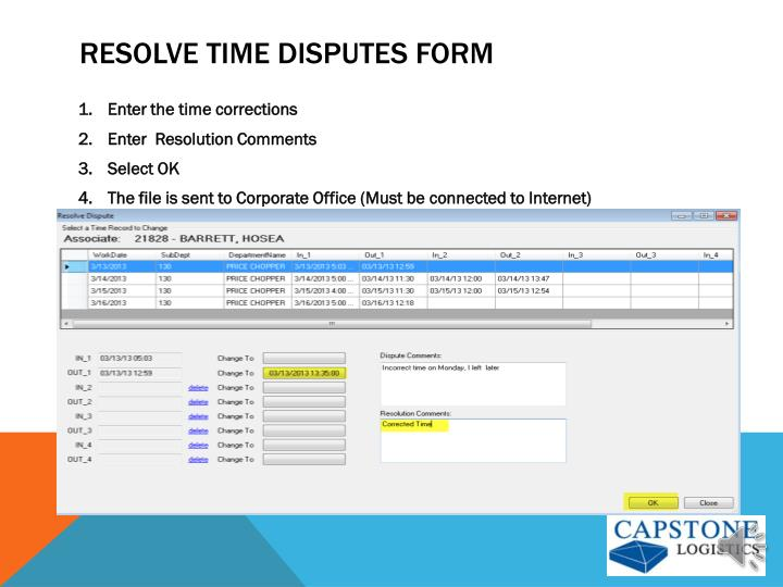 Resolve time Disputes Form