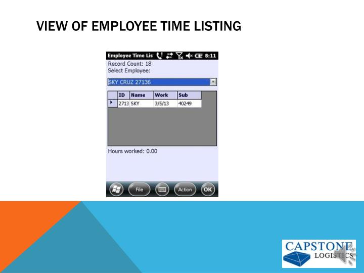 View of employee Time Listing