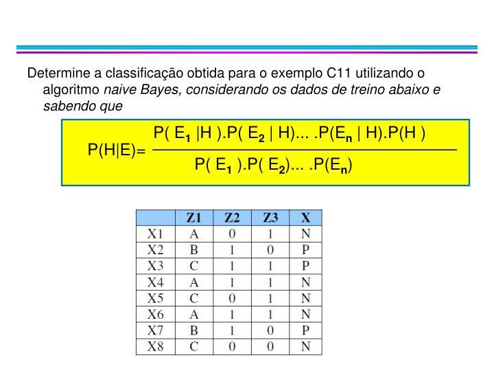 Determine a classificação obtida para o exemplo C11 utilizando o algoritmo