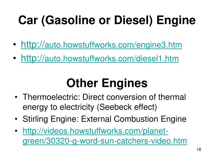 Car (Gasoline or Diesel) Engine