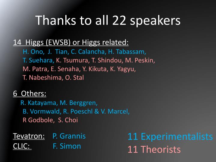 Thanks to all 22 speakers