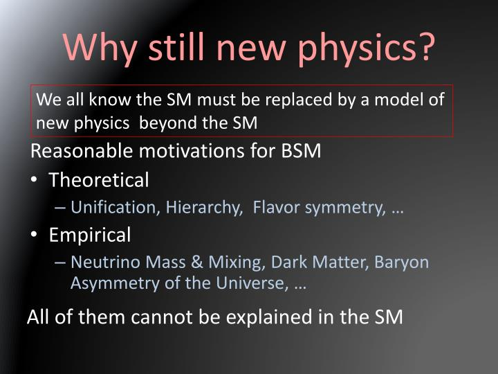 Why still new physics?