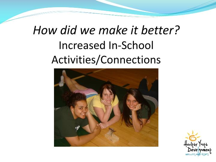 Increased In-School Activities/Connections