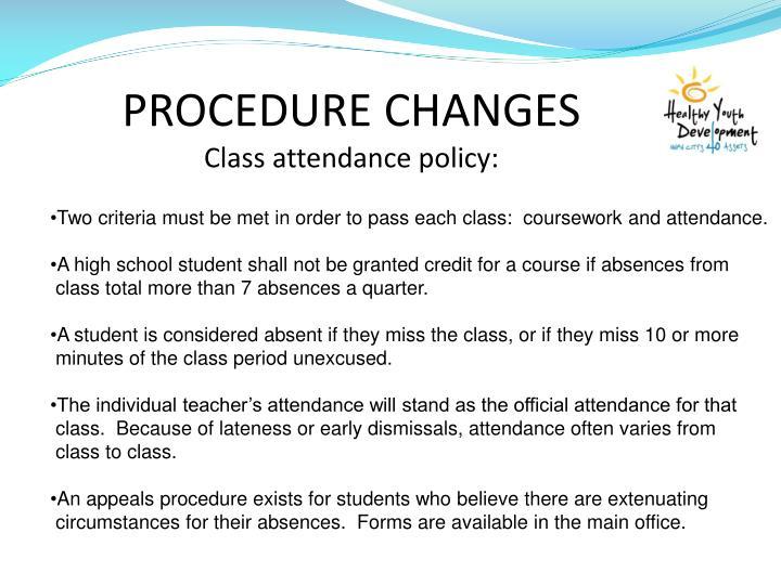 PROCEDURE CHANGES