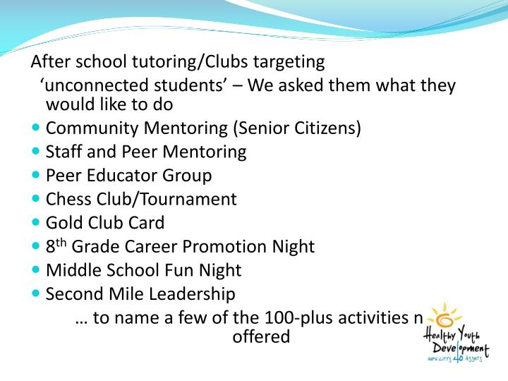 After school tutoring/Clubs targeting