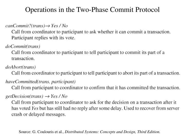 Operations in the Two-Phase Commit Protocol