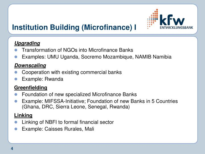 Institution Building (Microfinance) I