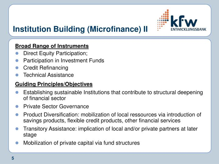 Institution Building (Microfinance) II